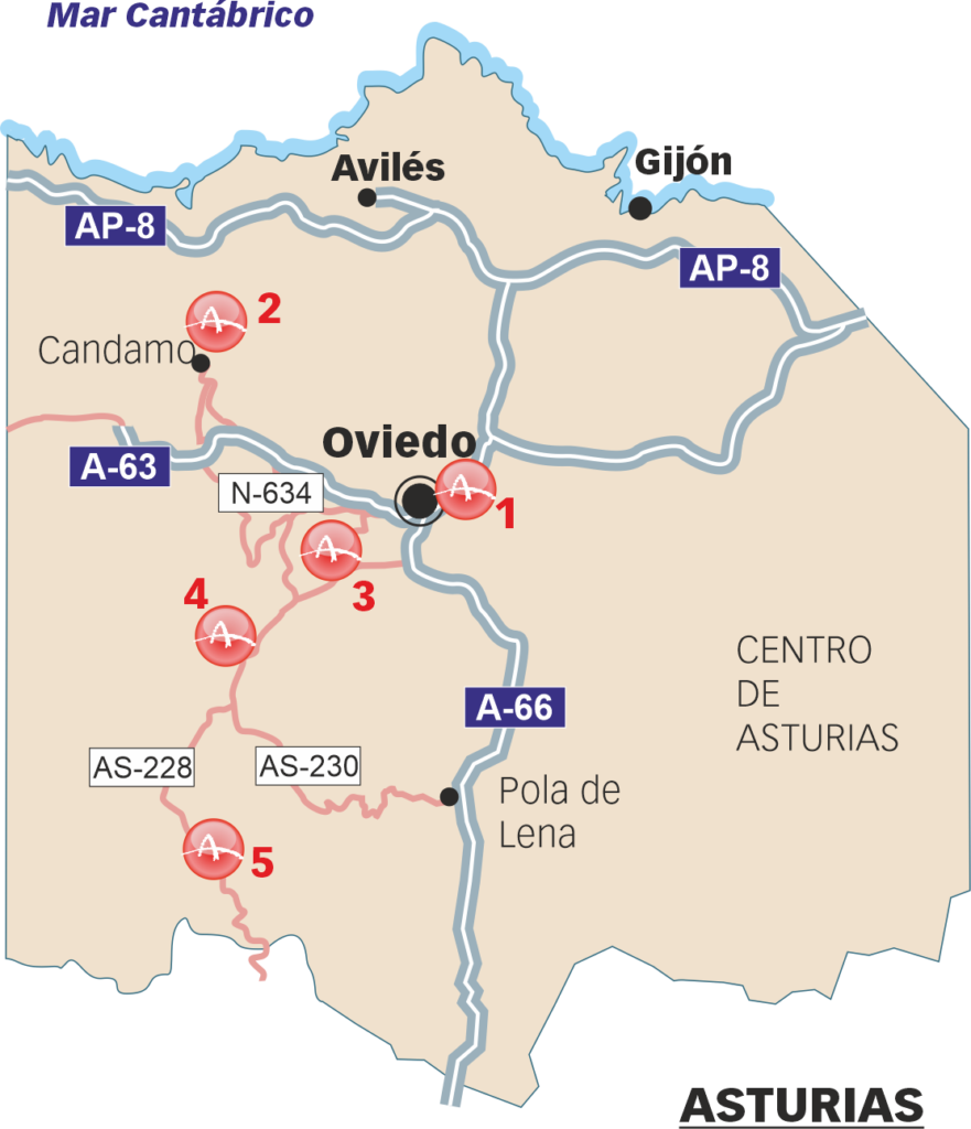 Sites that can be visited in the Nalón Valley