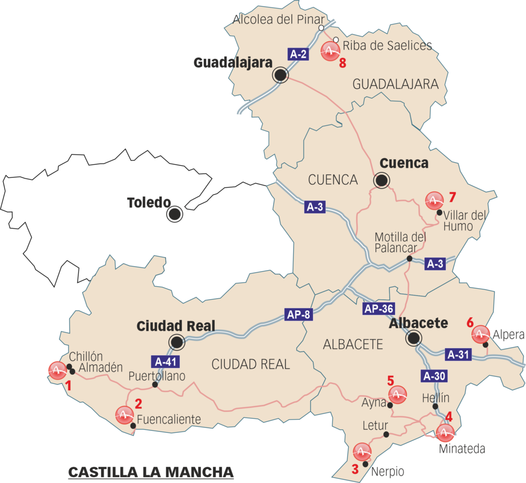 Sites that can be visited in Castilla La Mancha