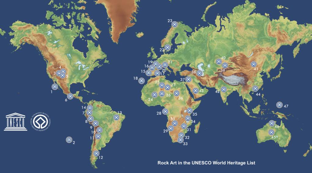 Mapa del Arte Rupestre Patrimonio Mundial de la UNESCO